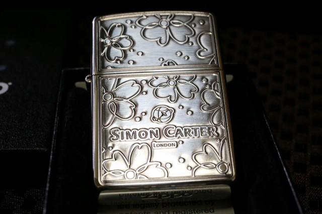 【デザイナーZIPPO サイモン・カーター】花柄 シルバー ジッポ ライター かわいい zippo 送料無料 シンプル 銀 彫り 人気 レア ブランド