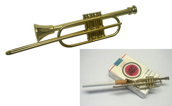 送料140円〜TSUGE(柘製作所)製 トロンボーン型MUSICタバコホルダー(シガレットホルダー)真鍮製