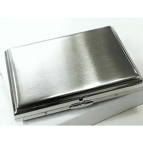 シガレットケース シルバーサテン 真鍮製 タバコケース ハードケース 16本 シンプルな煙草入れ 収納 メンズ プレゼント 潰れない