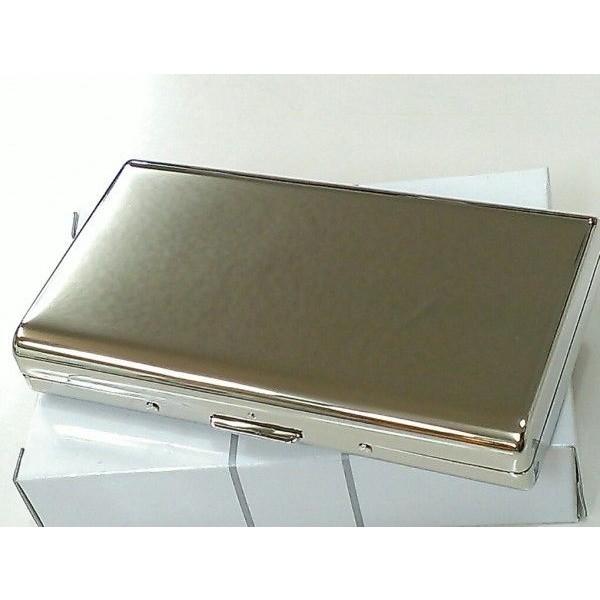 シガレットケース コンパクトサイズ タバコケース 鏡面シルバー 14本収納 たばこケース ロングサイズ対応 坪田パール社製