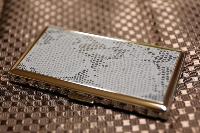 【シガレットケース 薄型6本 スネークパターン】 メタルケース ロング可 人気ブランド シンプル タバコケース たばこケース