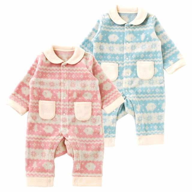 4ad6303409b52 ベビー服 赤ちゃん 服 ベビー カバーオール 男の子 女の子 70 80 防寒 北欧風プリントフリース長袖前開きカバーオール  暖かフリースの前開き長袖カバーオールです。