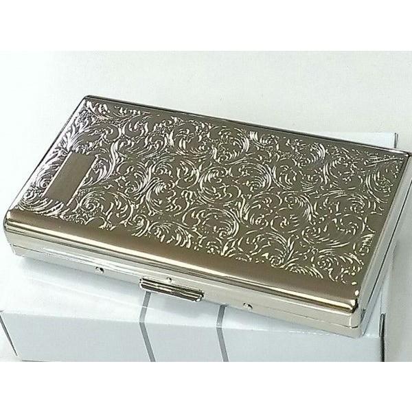 シガレットケース シルバーアラベスク タバコケース コンパクト ロングサイズ対応 ハードケース 14本収納 メンズ レディース
