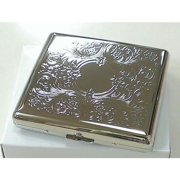 シガレットケース シルバーアラベスク 20本収納 タバコケース ハードケース 両面 綺麗 つぶれない 煙草入れ メンズ/レディース