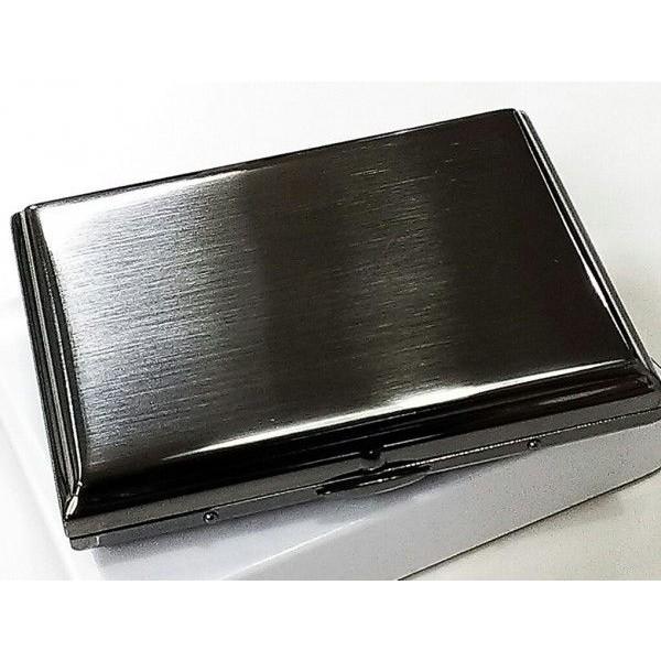 シガレットケース ブラックサテン 真鍮製 タバコケース たばこケース 16本収納 シンプルな煙草入れ 黒 メンズ 潰れない 頑丈