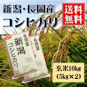 新潟産コシヒカリ(長岡産) 玄米10kg(真空包装5kg×2) 送料無料(本州のみ)