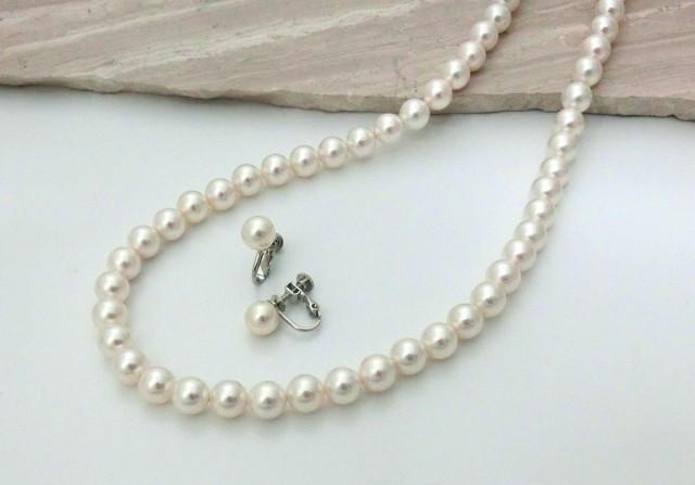 貝パール 美しいネックレスとイヤリング2点セット ホワイト 日本製 8ミリ珠 全長40cm