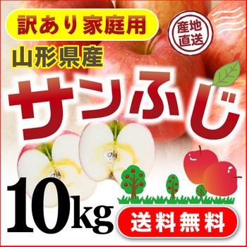 りんご 山形県産 ご家庭用 訳あり サンふじ 10kg 送料無料 果物 フルーツ