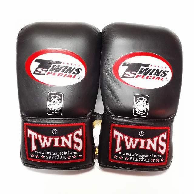 新品 正規 TWINS 本格 パンチンググローブ 黒 /サイズ/選択/ 大人/新品/ムエタイ/本革製/ゴム