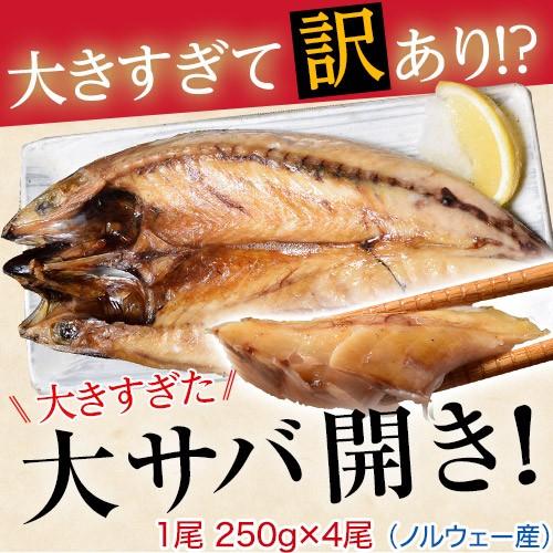 さば サバ 規格外 大きすぎた 大サバ開き 4尾 冷凍