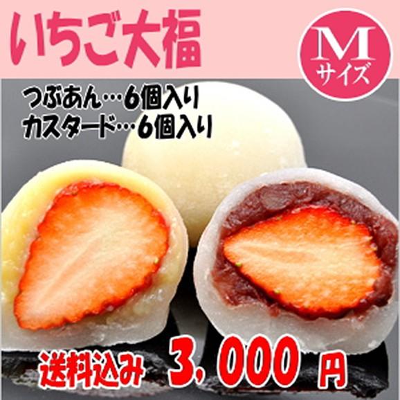 【送料無料】 3 000円 つぶあん・カスタード苺大福12個入り