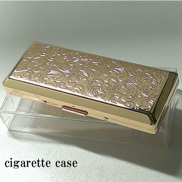 シガレットケース 超コンパクト ゴールドアラベスク ロングサイズ対応 潰れない タバコケース 金 10本収納