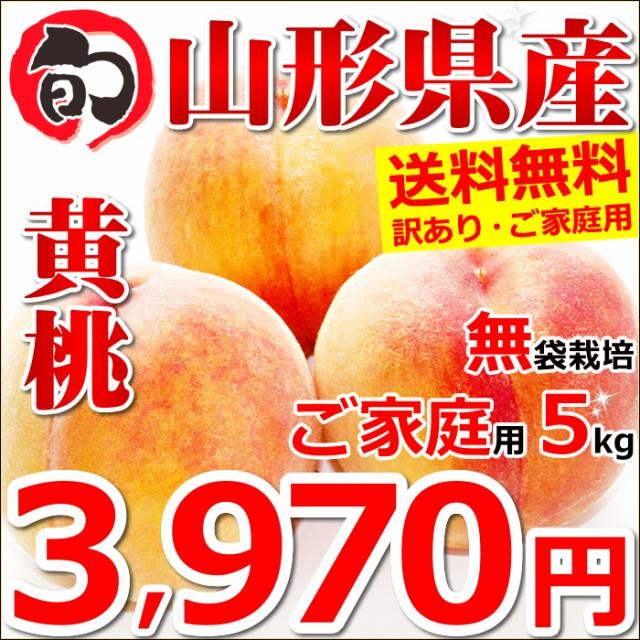 【2020/予約】ご家庭用 黄桃 5kg(無袋栽培/約18玉〜25玉入り) 訳あり もも モモ 桃 果物 フルーツ お取り寄せ 送料無料