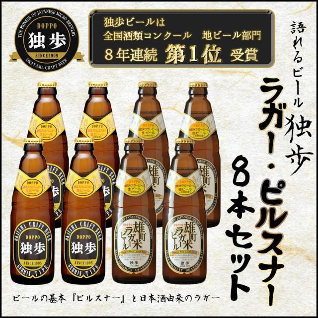 ギフト/贈答 ビールセット 飲み比べ 詰め合わせ 独歩 ピルスナー・雄町米ラガー8本セット クラフトビール 日本酒造り 吟醸酒 送料無料
