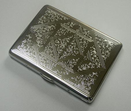 送料210円〜真鍮製メタル シガレットケース 100mmロング(9本)手巻き(12本-16本) 両切り(12本) シルバーアラベスク両面同柄(91429)