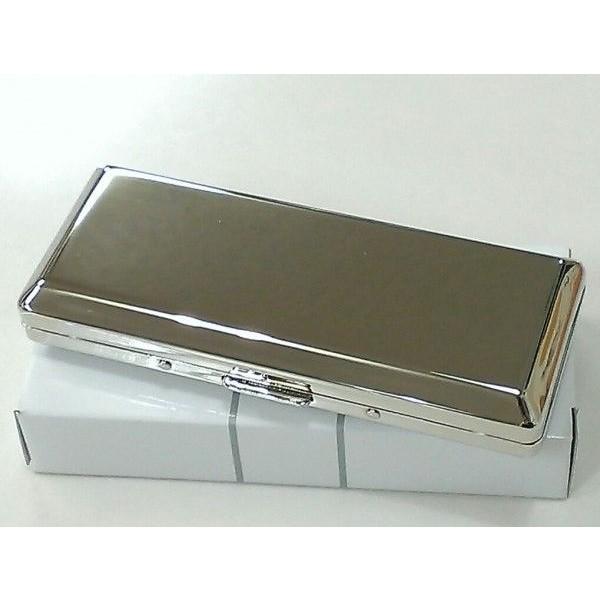 シガレットケース 超コンパクト 鏡面シルバー プレーン ハードケース ロングサイズ対応 10本 タバコケース メンズ レディース