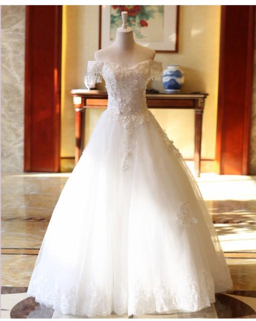 db04c29fb7451 手作り オフショルダー 豪華 フォーマルドレス 優雅 ロングドレス 素敵 パーティードレス ウェディングドレス花嫁 挙式