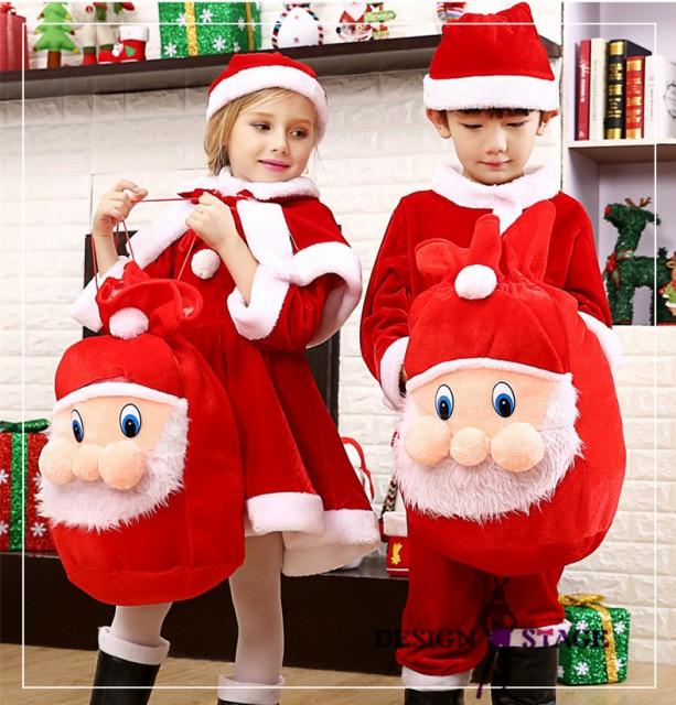 サンタコスプレ 子供服 女の子 男の子 バック付 袋付 演出服 コスプレ衣装 クリスマスイベント CM013
