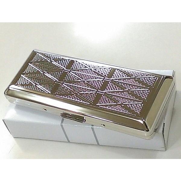 シガレットケース 超コンパクト シルバー彫刻デザイン ロングサイズ対応 ハードケース 10本収納 潰れない タバコケース