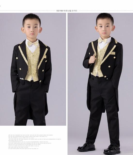 76dd65aab35db 男の子 子供服 スーツ タキシードフォーマル ピアノ発表会 結婚式 5点セットジャケット+