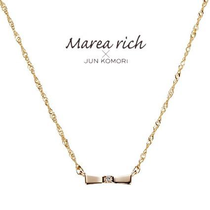 10金ゴールド ダイヤモンド リボン ネックレス ペンダント レディース 女性用 小森純ジュエリーブランド Marea rich マレアリッチ