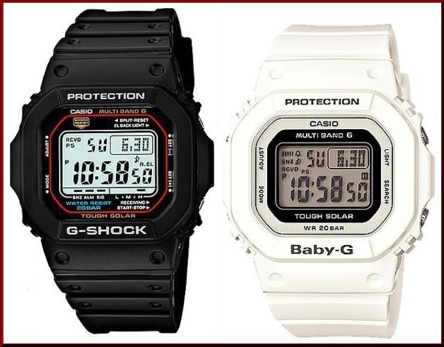 カシオ/G-SHOCK【CASIO/BABY-G】ペアウォッチ ソーラー電波腕時計 ブラック/ホワイト【国内正規品】GW-M5610-1JF/BGD-5000-7JF