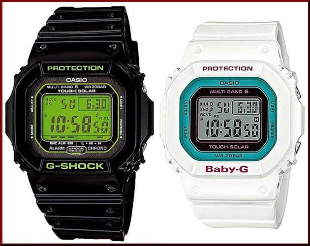 カシオ/G-SHOCK【CASIO/BABY-G】ペアウォッチ ソーラー電波腕時計 ブラック/ホワイト【国内正規品】GW-M5610B-1JF/BGD-5000-7BJF