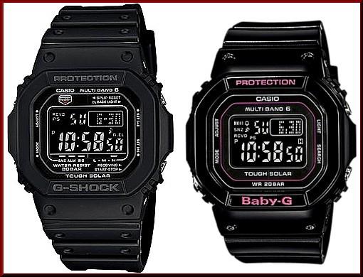 カシオ/G-SHOCK【CASIO/BABY-G】ペアウォッチ ソーラー電波腕時計 ブラック【国内正規品】GW-M5610-1BJF/BGD-5000-1JF
