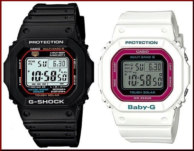 カシオ/G-SHOCK【CASIO/BABY-G】ペアウォッチ ソーラー電波腕時計 ブラック/ホワイト【国内正規品】GW-M5610-1JF/BGD-5000-7CJF