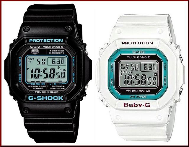 カシオ/G-SHOCK【CASIO/BABY-G】ペアウォッチ ソーラー電波腕時計 ブラック/ホワイト【国内正規品】GW-M5610BA-1JF/BGD-5000-7BJF