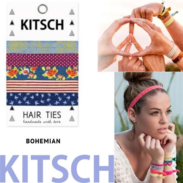 【KITSCH キッチュ】【BOhemian 】 カリフォルニア発キュートなヘアゴム Hair Tie カラフル 無地 プリント ヘアタイ 5本セット