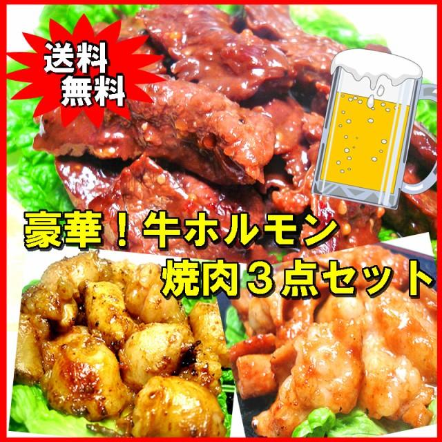 送料無料 豪華☆牛ホルモン焼肉3点セット バーベキュー BBQ