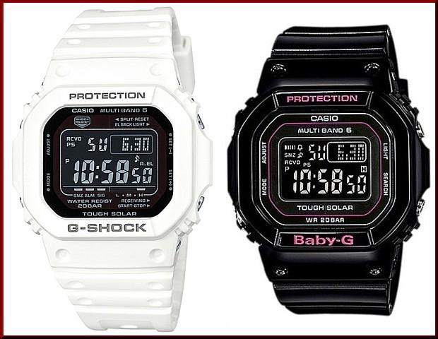 カシオ/G-SHOCK【CASIO/BABY-G】ペアウォッチ ソーラー電波腕時計 ホワイト/ブラック【国内正規品】GW-M5610MD-7JF/BGD-5000-1JF