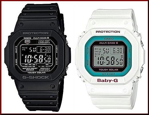 カシオ/G-SHOCK【CASIO/BABY-G】ペアウォッチ ソーラー電波腕時計 ブラック/ホワイト【国内正規品】GW-M5610-1BJF/BGD-5000-7BJF