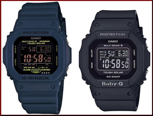 カシオ/G-SHOCK【CASIO/BABY-G】ペアウォッチ ソーラー電波腕時計 ネイビー/ブラック【国内正規品】GW-M5610NV-2JF/BGD-5000MD-1JF