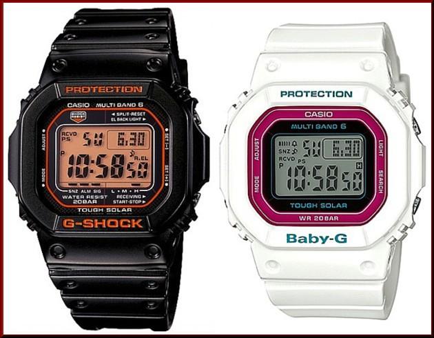 カシオ/G-SHOCK【CASIO/BABY-G】ペアウォッチ ソーラー電波腕時計 ブラック/ホワイト【国内正規品】GW-M5610R-1JF/BGD-5000-7CJF