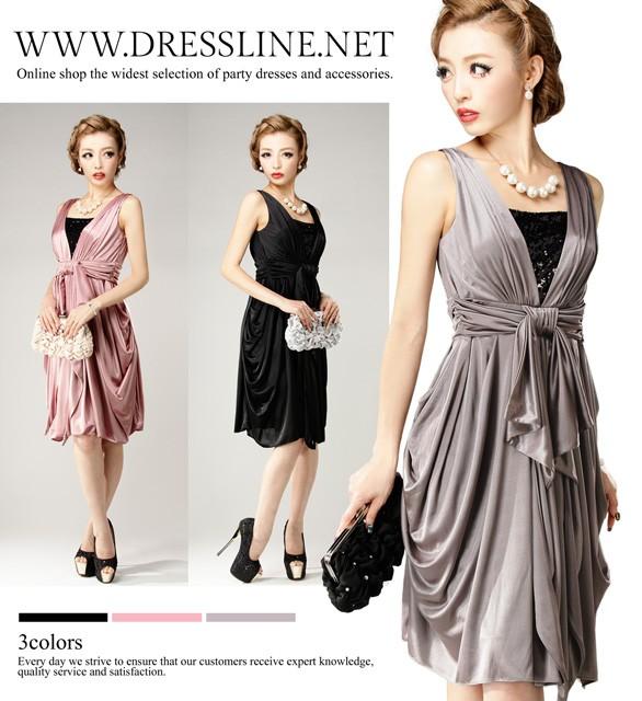 9c7bbfbb67178  アウトレット  4サイズ ウエストリボン トリコットコクーン ワンピースドレス