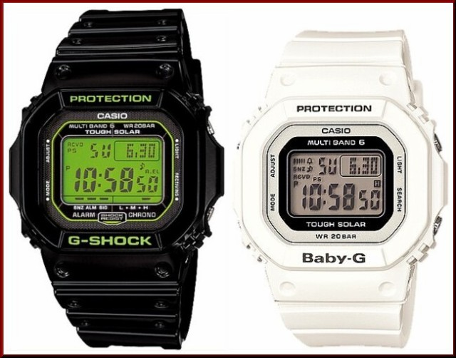 カシオ/G-SHOCK【CASIO/BABY-G】ペアウォッチ ソーラー電波腕時計 ブラック/ホワイト【国内正規品】GW-M5610B-1JF/BGD-5000-7JF