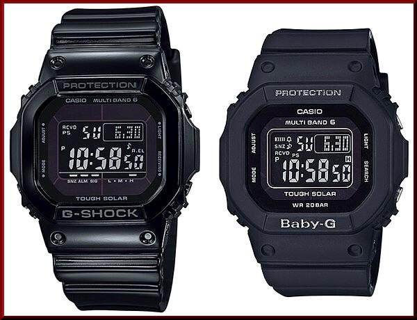 カシオ/G-SHOCK【CASIO/BABY-G】ペアウォッチ ソーラー電波腕時計 ブラック 【国内正規品】GW-M5610BB-1JF/BGD-5000MD-1JF