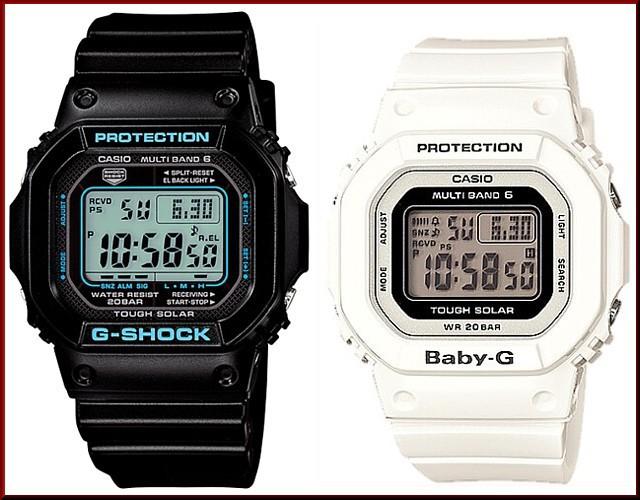カシオ/G-SHOCK【CASIO/BABY-G】ペアウォッチ ソーラー電波腕時計 ブラック/ホワイト【国内正規品】GW-M5610BA-1JF/BGD-5000-7JF