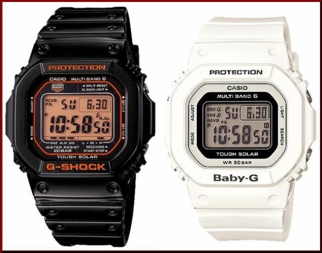 カシオ/G-SHOCK【CASIO/BABY-G】ペアウォッチ ソーラー電波腕時計 ブラック/ホワイト【国内正規品】GW-M5610R-1JF/BGD-5000-7JF