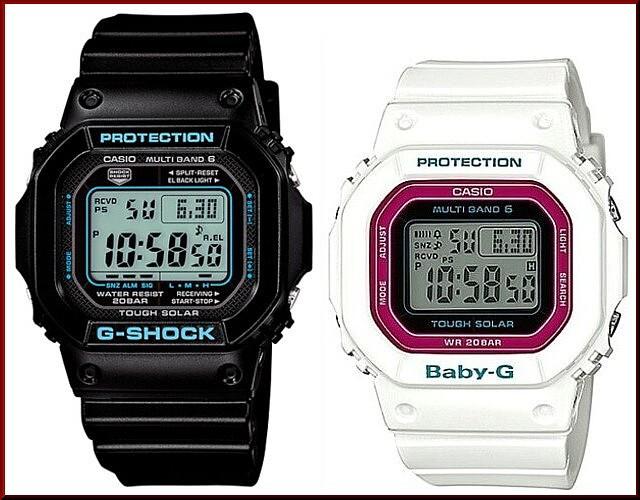 カシオ/G-SHOCK【CASIO/BABY-G】ペアウォッチ ソーラー電波腕時計 ブラック/ホワイト【国内正規品】GW-M5610BA-1JF/BGD-5000-7CJF