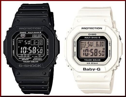 カシオ/G-SHOCK【CASIO/BABY-G】ペアウォッチ ソーラー電波腕時計 ブラック/ホワイト【国内正規品】GW-M5610-1BJF/BGD-5000-7JF