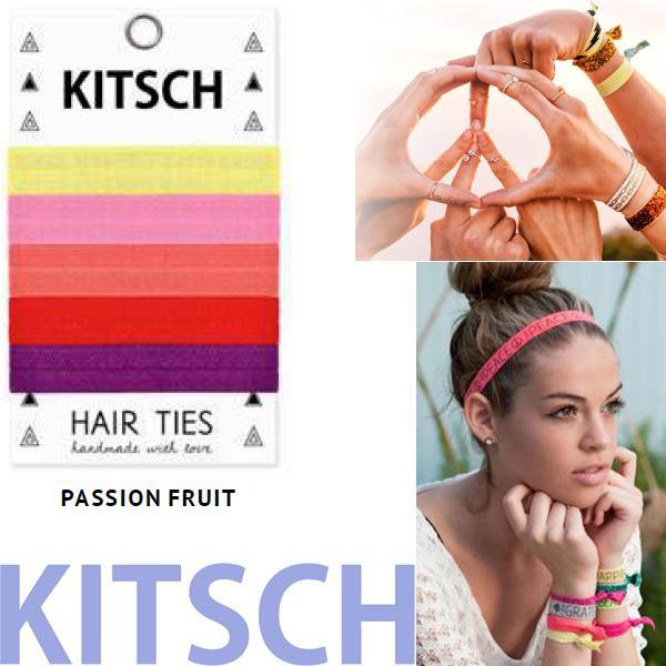 【KITSCH キッチュ】【PASSION FRUIT 】 カリフォルニア発キュートなヘアゴム Hair Tie カラフル 無地 プリント ヘアタイ 5本セット