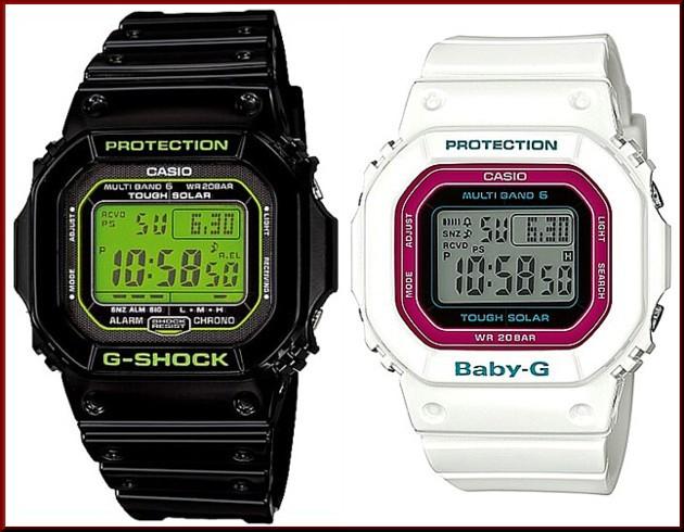 カシオ/G-SHOCK【CASIO/BABY-G】ペアウォッチ ソーラー電波腕時計 ブラック/ホワイト【国内正規品】GW-M5610B-1JF/BGD-5000-7CJF