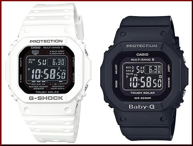 カシオ/G-SHOCK【CASIO/BABY-G】ペアウォッチ ソーラー電波腕時計 ホワイト/ブラック【国内正規品】GW-M5610MD-7JF/BGD-5000MD-1JF