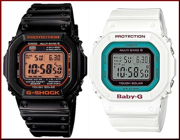 カシオ/G-SHOCK【CASIO/BABY-G】ペアウォッチ ソーラー電波腕時計 ブラック/ホワイト【国内正規品】GW-M5610R-1JF/BGD-5000-7BJF