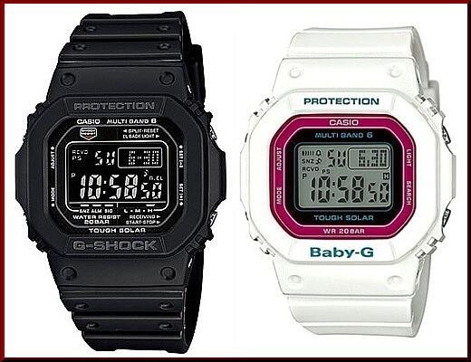 カシオ/G-SHOCK【CASIO/BABY-G】ペアウォッチ ソーラー電波腕時計 ブラック/ホワイト【国内正規品】GW-M5610-1BJF/BGD-5000-7CJF