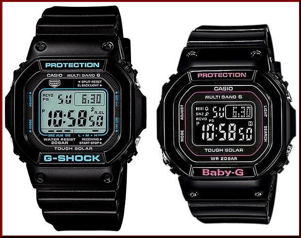 カシオ/G-SHOCK【CASIO/BABY-G】ペアウォッチ ソーラー電波腕時計 ブラック【国内正規品】GW-M5610BA-1JF/BGD-5000-1JF