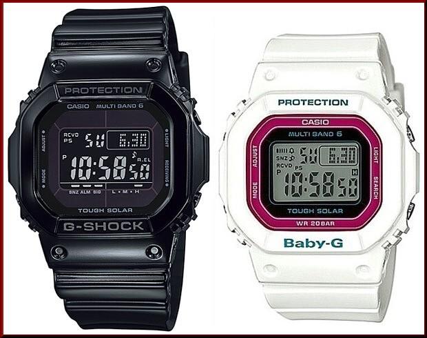 カシオ/G-SHOCK【CASIO/BABY-G】ペアウォッチ ソーラー電波腕時計 ブラック/ホワイト【国内正規品】GW-M5610BB-1JF/BGD-5000-7CJF